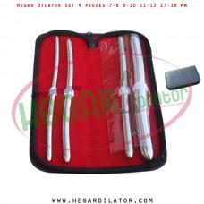 Hegar dilator set 4 pieces 7-8, 9-10, 11-12 and 17-18 mm