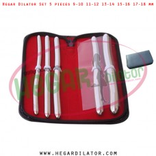 Hegar dilator set 5 pieces 9-10, 11-12, 13-14, 15-16 and 17-18 mm