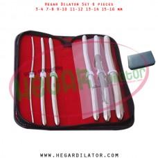 Hegar dilator set 6 pieces 3-4, 7-8, 9-10, 11-12, 13-14 and 15-16 mm