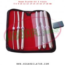 Hegar dilator set 6 pieces 3-4, 9-10, 11-12, 13-14, 15-16 and 17-18 mm