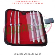 Hegar dilator set 6 pieces 5-6, 7-8,  9-10, 11-12, 13-14, and 17-18 mm