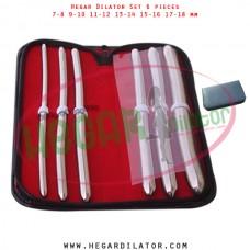 Hegar dilator set 6 pieces 7-8,  9-10, 11-12, 13-14, 15-16 and 17-18 mm